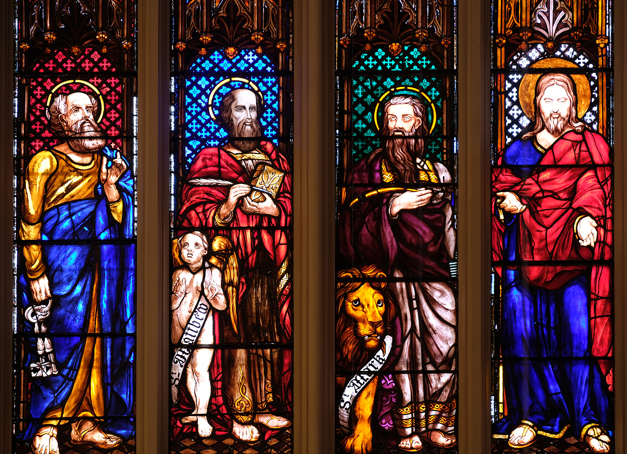 Figures Of The Four Evangelists And Saints Peter Paul Under Gothic Canopies Splendid Series From An Apostles Creed Window Probably