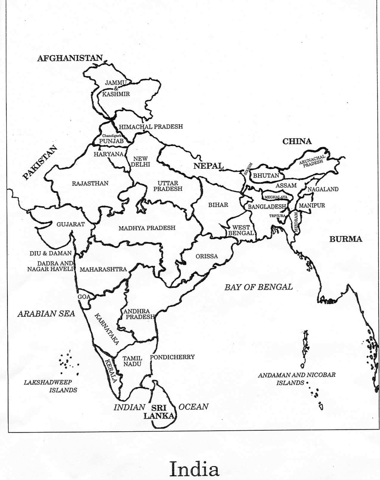 India Map Free Coloring Pages